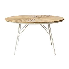 Ellen Tisch 130cm rund weiß Aluminium pulverbeschichtet mit Teaktischplatte