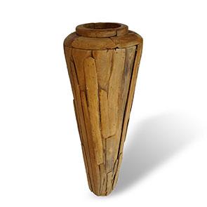 Teakholzvase Hendrik gross schlanke Form 155 cm hoch