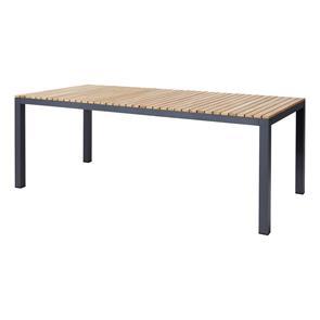 Mood Extreme Tisch 208x100cm rechteckig anthrazit Aluminium pulverbeschichtet mit Teaktischplatte
