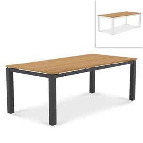 Planka Alu-Esstisch 210x100x76cm pulverbeschichtet Teak Grade A gebürstet mit Aluminiumgestell