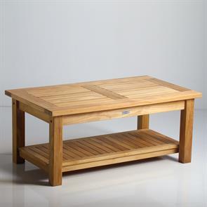 Briston Sofa Tisch 105 x 60cm mit Ablage Teak mit 6x6 cm Tischbeinen