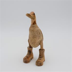 Ente »Bruno« - klein beige-braun aufrecht mit Schuhe