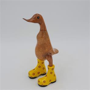 Ente »Dagmar« klein braun aufrecht mit gelben Blümchenschuhen