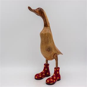 Ente »Fabienne« gross braun aufrecht  rot mit gelben Blümchen