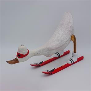 Ente »David« - gross nach vorn gebeugt weiss mit Ski