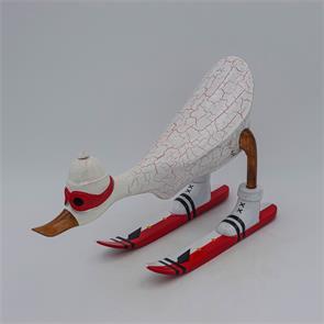 Ente »Dennis« - mittel nach vorn gebeugt weiss mit Ski