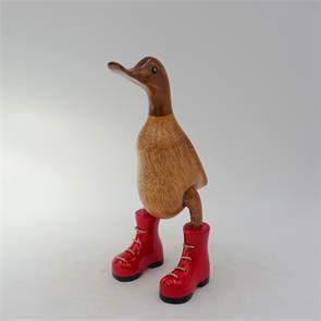Ente »Chloe« - klein braun aufrecht mit  roten Schuhen
