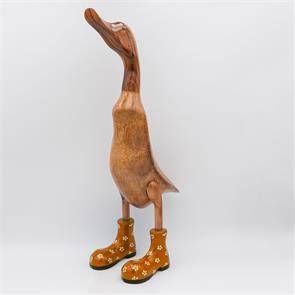 Ente »Bertha« riesengross braun aufrechtgoldfarben mit Blümchen