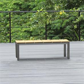 Fides Gartenbank ohne Rückenlehne 130 x 45cm Vintage Teak mit Edelstahl