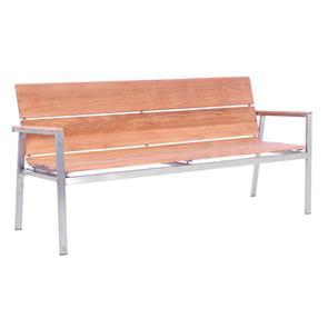Fides Bank mit Rückenlehne 180 Teak mit Edelstahlgestell  180x63x86,5cm