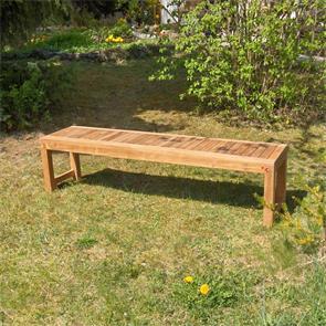 Hampton Gartenbank ohne Rückenlehne 160 cm - Zertifiziertes Teakholz GRADE A