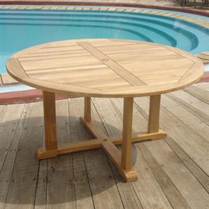 Denver Runder Tisch 150 - Zertifiziertes Teakholz GRADE A + Messingbeschläge