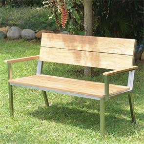 Makan Gartenbank mit Rücken- und Armlehne 132 Teak gebürstet mit Edelstahlgestell 132x63x90 cm