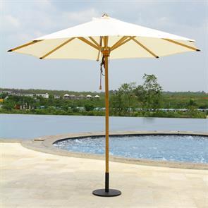 Sonnenschirm Ocean Deluxe 250cm rund Sunproof Teak mit Edelstahlbeschlägen und 3fach-Flaschenzug