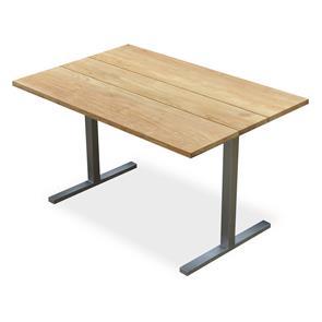 Planka Dining Lounge Tisch 120 x 80 x 69 cm Teak Grade A gebürstet mit Edelstahlgestell