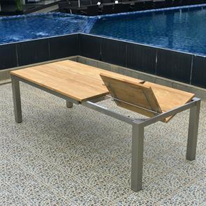 Planka Frontausziehtisch 230/160 x 100 x 77 cm Teak Grade A gebürstet mit Edelstahlgestell