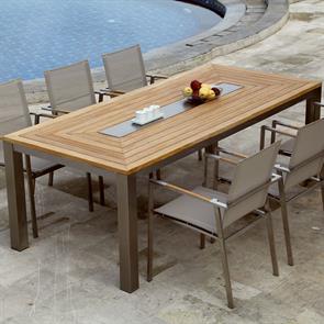 Signature Tisch rechteckig 220 x 100 x 75 cm Teak mit Edelstahlablage in der Mitte