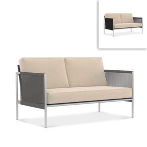 Snix Sofa 2 Sitzer  143x78,5x74,5cm -  rostfreier Edelstahl, Batyline und Rope-Material