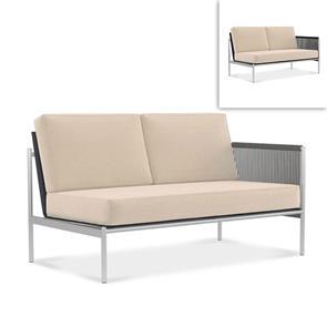 Snix Lounge 2 Sitzer links 139,5x78,5x74,5cm -  rostfreier Edelstahl, Batyline und Rope-Material