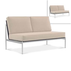 Snix Lounge 2 Sitzer Mittelmodul 136x78,5x74,5cm -  rostfreier Edelstahl, Batyline und Rope-Material
