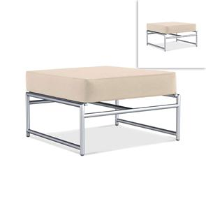 Snix Lounge Ottomane / Hocker  77,5x70x29cm -  rostfreier Edelstahl, Batyline und Rope-Material