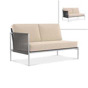 Snix Lounge 2 Sitzer rechts 139,5x78,5x74,5cm -  rostfreier Edelstahl, Batyline und Rope-Material