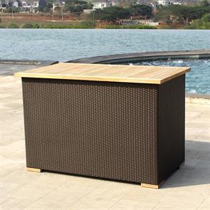 Hybridtruhe regendicht 137x78x90 cm Gelflechttruhe mit Aluminium-Innenbox und Teaktop
