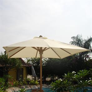 Sonnenschirm rechteckig 350 x 250cm Standardfarben Teak mit Messingbeschlägen