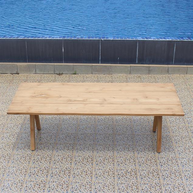 Stor Baumkantentisch 240 x 95-105 x 75 cm Teak mit Aluminium- oder Teakgestell