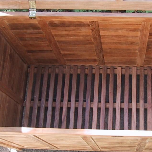 Gartentruhe mit flachem Deckel gross 123 cm Teak mit Messingbeschlägen
