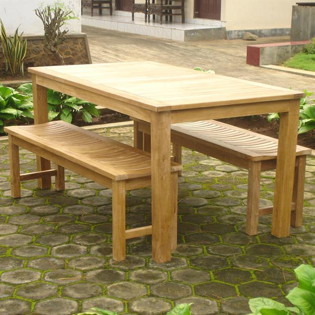 Elegance Gartenbank ohne Rückenlehne 200 cm Teak