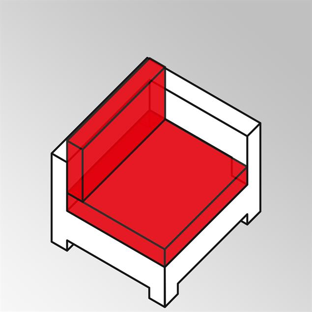 FLEXI Lounge Eckmodul 95x95x65 cm Geflecht Lounge