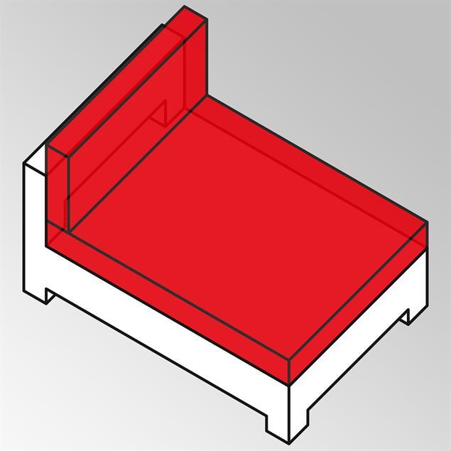 FLEXI Lounge Mittelmodul XL 154x95x65 cm Geflecht Lounge