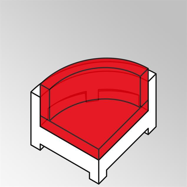 FLEXI Lounge Viertelkreis 95x95x65 cm Geflecht Lounge
