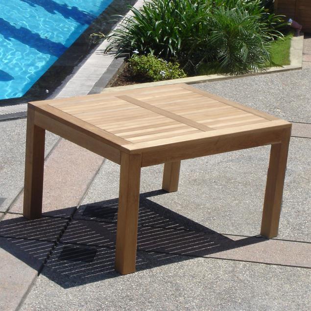 Hampton Esstisch 100 x 100 x 76,5cm Teak mit 9x9 cm Tischbeinen mit Höhenverstellung