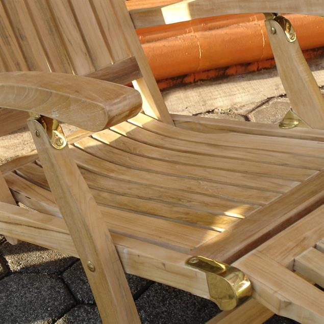 Elegance Deckchair 154 x 61 x 98 cm Zertifiziertes Teakholz GRADE A + Messingbeschläge