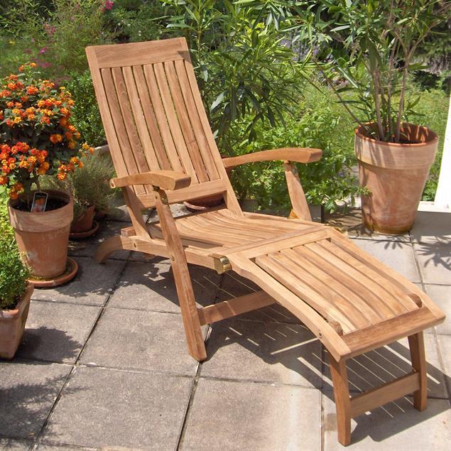 Elegance Deckchair 154 x 61 x 98 cm Teak mit Messingbeschlägen