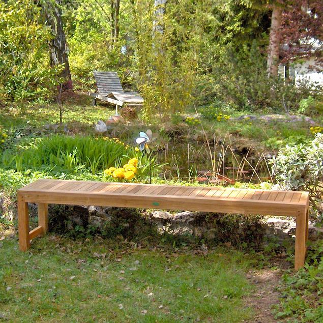 Hampton Gartenbank ohne Rückenlehne 180 cm Teak