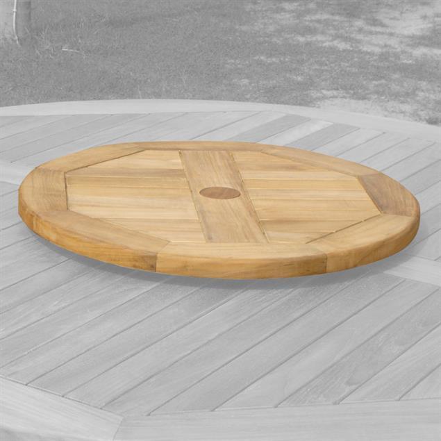Denver Runder Tisch 120 - Zertifiziertes Teakholz GRADE A + Messingbeschläge
