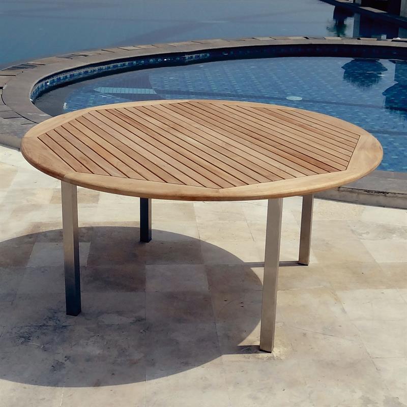 Runder Tisch 160 Cm.Florence Runder Tisch 160 Cm Teak Mit Edelstahl Homeofteak